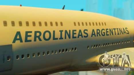 Boeing 747 Argentina Airlines para GTA San Andreas vista hacia atrás