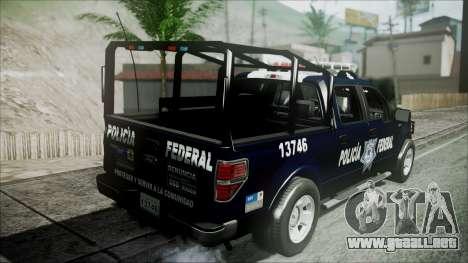 Ford Pickup Policia Federal para GTA San Andreas vista hacia atrás