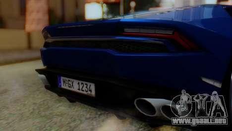 Lamborghini Huracan 2015 para GTA San Andreas vista hacia atrás