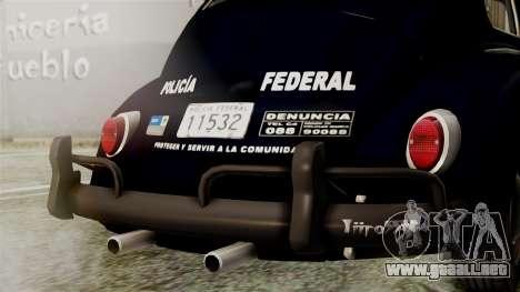 Volkswagen Beetle 1963 Policia Federal para visión interna GTA San Andreas