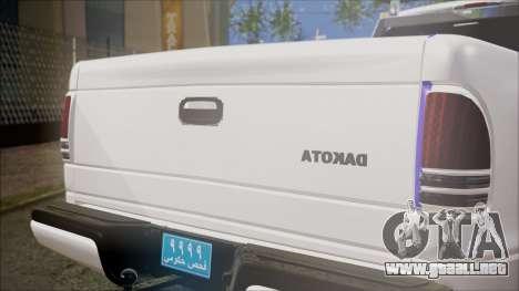 Dodge Dakota Iraqi Police para GTA San Andreas vista hacia atrás