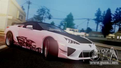Lexus LFA para GTA San Andreas vista hacia atrás