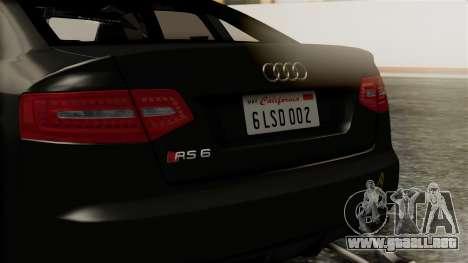 Audi RS6 Civil Drag Version para visión interna GTA San Andreas