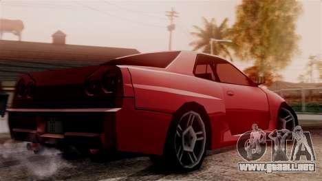 Nissan Skyline R34 SA Style para GTA San Andreas vista posterior izquierda