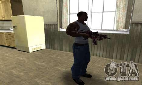 M4 Rojo Camo para GTA San Andreas tercera pantalla
