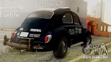 Volkswagen Beetle 1963 Policia Federal para GTA San Andreas left