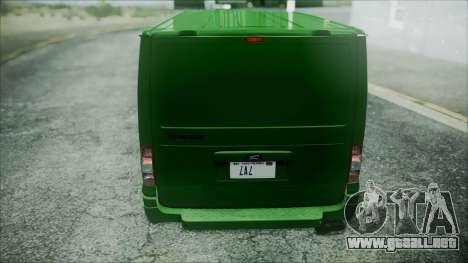 Ford Transit SSV 2011 para visión interna GTA San Andreas