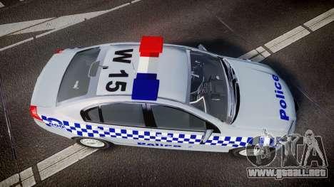 Holden Commodore Omega Victoria Police [ELS] para GTA 4 visión correcta