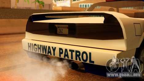 Police Infernus para GTA San Andreas vista hacia atrás