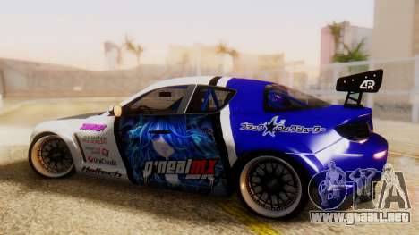 Mazda RX-8 Tuned Black Rock Shooter Itasha para GTA San Andreas left
