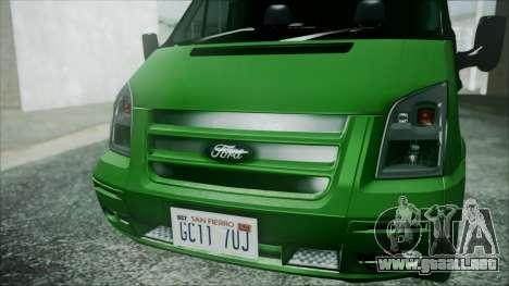 Ford Transit SSV 2011 para GTA San Andreas vista hacia atrás