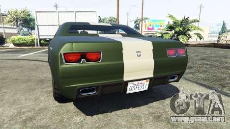 GTA 5 Bravado Gauntlet Dodge Challenger vista lateral izquierda trasera