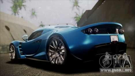 Hennessey Venom GT 2012 U.S.A American para GTA San Andreas vista posterior izquierda