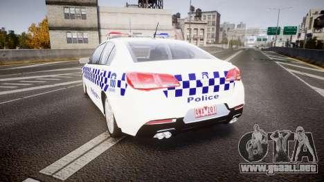 Holden VF Commodore SS NSW Police [ELS] para GTA 4 Vista posterior izquierda