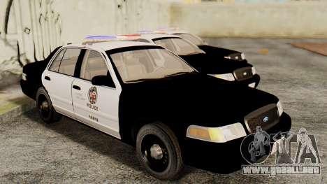 Ford Crown Victoria 2009 LAPD para la visión correcta GTA San Andreas