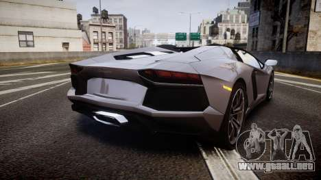 Lamborghini Aventador Roadster para GTA 4 Vista posterior izquierda