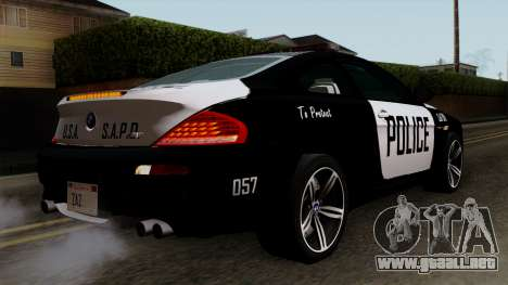 BMW M6 E63 Police Edition para GTA San Andreas left