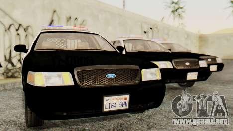 Ford Crown Victoria 2009 LAPD para GTA San Andreas vista posterior izquierda