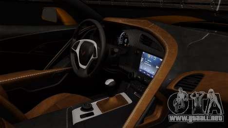 Chevrolet Corvette Z06 1.0.1 para GTA San Andreas vista hacia atrás