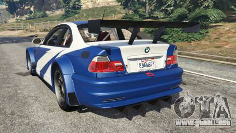GTA 5 BMW M3 GTR E46 Most Wanted v1.2 vista lateral izquierda trasera