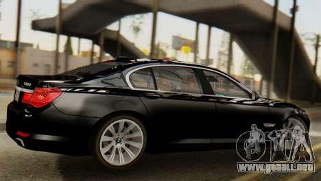 BMW 750Li 2012 para GTA San Andreas vista posterior izquierda
