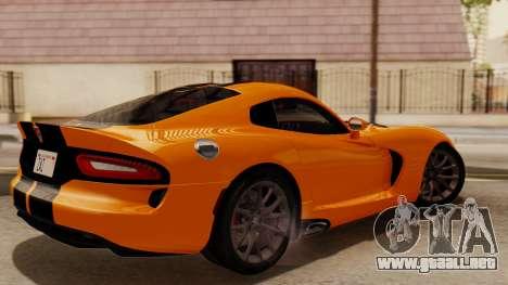 Dodge Viper SRT GTS 2013 IVF (HQ PJ) No Dirt para GTA San Andreas vista posterior izquierda