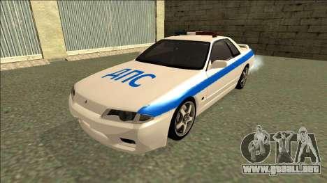 Nissan Skyline R32 Russian Police para GTA San Andreas vista posterior izquierda