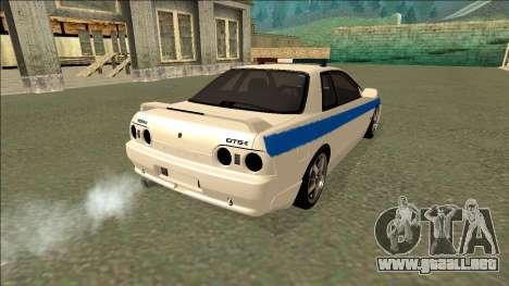 Nissan Skyline R32 Russian Police para vista lateral GTA San Andreas
