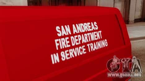 SAFD In Service Training Van para la visión correcta GTA San Andreas