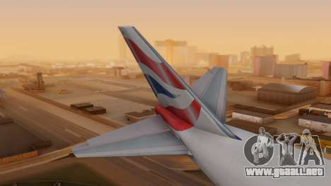 Boeing 747-200 British Airways para GTA San Andreas vista posterior izquierda