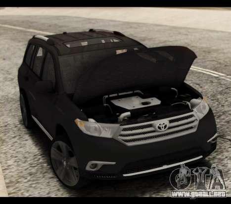 Toyota Highlander 2011 para la vista superior GTA San Andreas