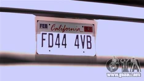 CA & NV License Plates para GTA San Andreas segunda pantalla
