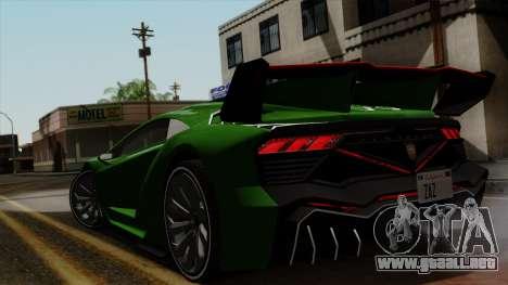 Pegassi Zentorno Veneno para GTA San Andreas vista posterior izquierda
