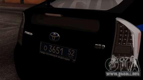 Toyota Prius ДПС para GTA San Andreas vista hacia atrás
