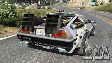 GTA 5 DeLorean DMC-12 Back To The Future v0.2 vista lateral izquierda trasera