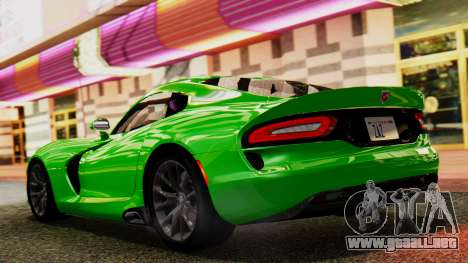 Dodge Viper SRT GTS 2013 IVF (MQ PJ) No Dirt para GTA San Andreas vista posterior izquierda
