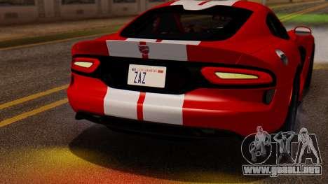 Dodge Viper SRT GTS 2013 IVF (MQ PJ) LQ Dirt para GTA San Andreas vista hacia atrás