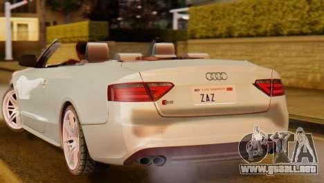 Audi S5 2010 Cabriolet para GTA San Andreas vista posterior izquierda