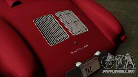 Porsche 550A Spyder 1956 para GTA San Andreas vista hacia atrás