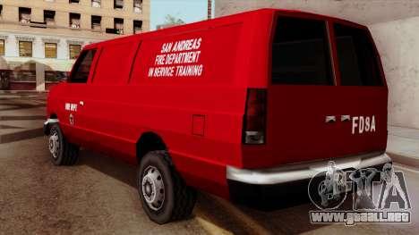 SAFD In Service Training Van para GTA San Andreas left