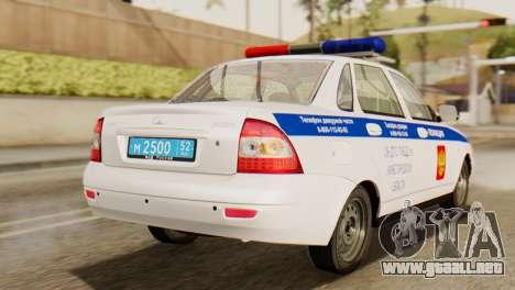 Lada 2170 Priora de la policía de tráfico de la  para GTA San Andreas left