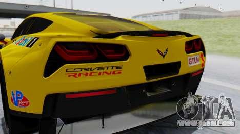 Chevrolet Corvette C7R GTE 2014 PJ1 para GTA San Andreas vista hacia atrás