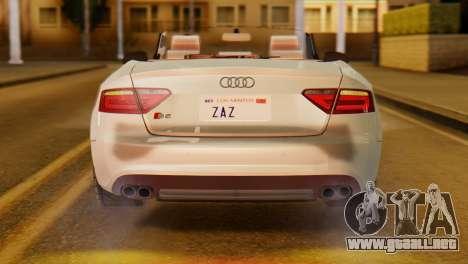 Audi S5 2010 Cabriolet para la visión correcta GTA San Andreas
