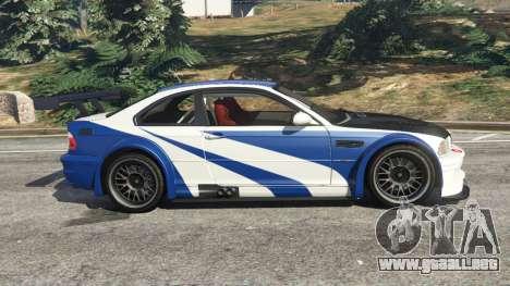 GTA 5 BMW M3 GTR E46 Most Wanted v1.2 vista lateral izquierda