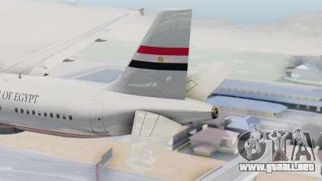 Airbus A320-200 Egyptian Air Force One para GTA San Andreas vista posterior izquierda