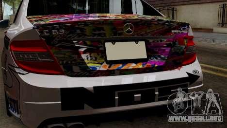 Mercedes-Benz C63 AMG Momoka and Nonoka Itasha para GTA San Andreas vista hacia atrás