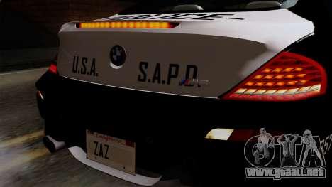 BMW M6 E63 Police Edition para GTA San Andreas vista hacia atrás