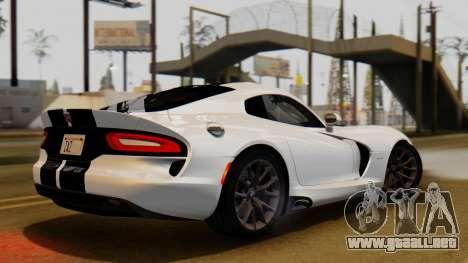 Dodge Viper SRT GTS 2013 IVF (HQ PJ) LQ Dirt para GTA San Andreas vista posterior izquierda