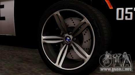 BMW M6 E63 Police Edition para GTA San Andreas vista posterior izquierda