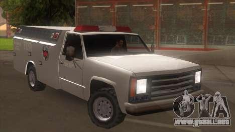 FDSA Fire Van para GTA San Andreas vista posterior izquierda